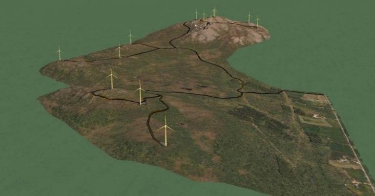 3D tegning av en vindmøllepark