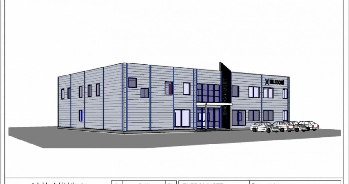 Tegning av et bygg