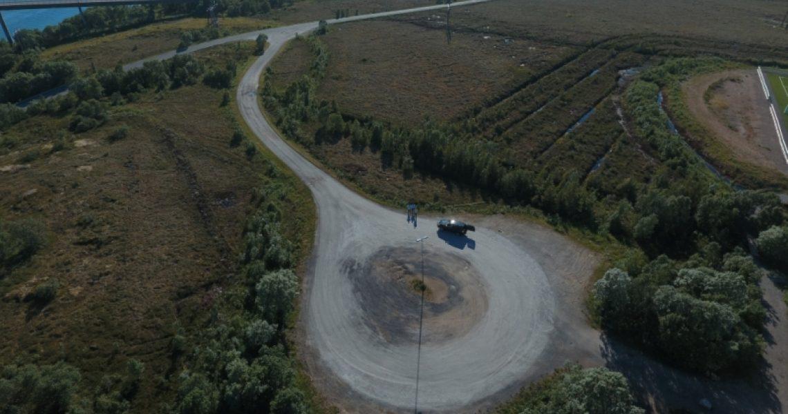 Dronebilde av en byggeplass