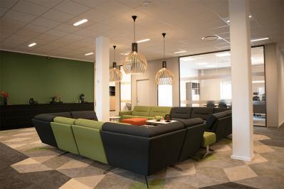 Lounge med 2 svarte/grønne sofaer